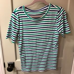 J Crew Perfect Tee. Green blue striped. Size large