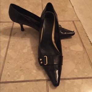 Pointed Toe Heels with Gold Accents