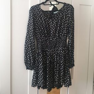 Black with white flowers dress