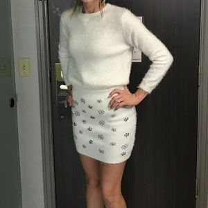 Ivory fuzzy Sweater Skirt Set with Silver Beading