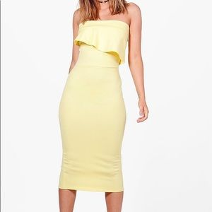 BOOHOO YELLOW BANDEAU DRESS