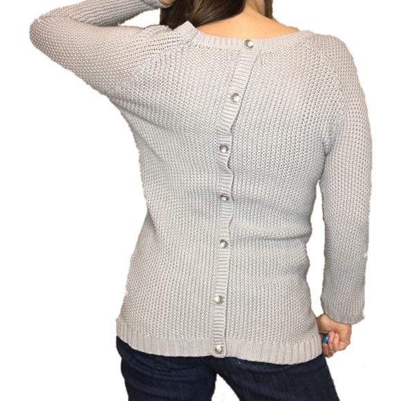 737ddb06b7c00c Cynthia Rowley Sweaters - Cynthia Rowley Gray Cable Knit Button Back Sweater