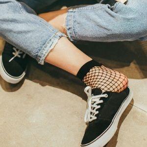 Black Fishnet Mesh Ankle High Socks