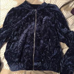 Blue Crushed Velvet Bomber Jacket