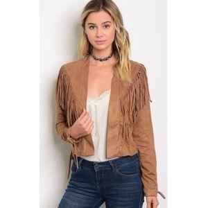 Camel Fringe Jacket Size L