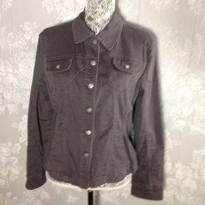 Liv a Little gray denim jacket.