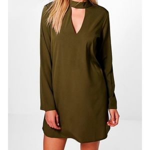 NEW - Olive Choker BooHoo Swing Dress