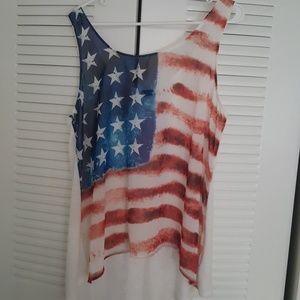 Sheer American flag hi-lo tank top
