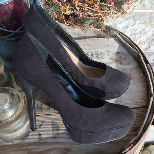 Lauren Conrad black suede platform heels