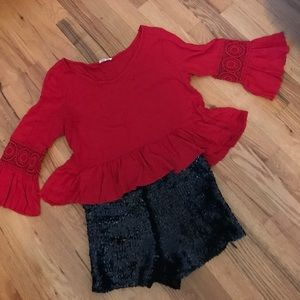 Red Boho Crop Top