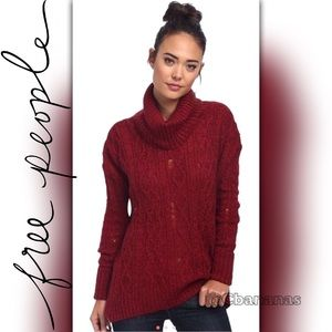 Free People Distressed Complex Cowl Neck Sweater