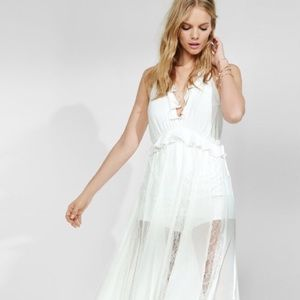 Express Ruffle Neck Lace Maxi Dress