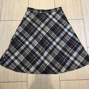 Coffee bean plaid skirt