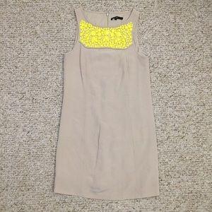 Tibi New York nude jeweled neckline sheath dress.