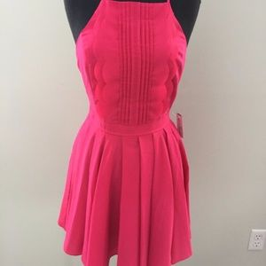 Windsor Pink Scalloped Open Back Bow Dress Sz S