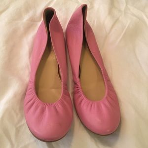 J. crew bubblegum pink leather flats 9 GUC
