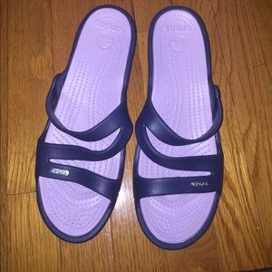 Cute navy and lavender crocs