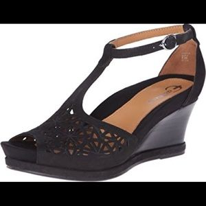 Earthies Casella Size 9.5 EUC Black Wedge Sandals