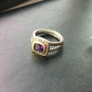 David Yurman Petite Albion Ring amethyst & diamond