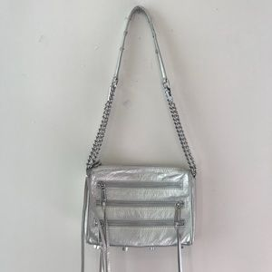 Rebecca Minkoff Silver 3-Zip Moto Crossbody Bag