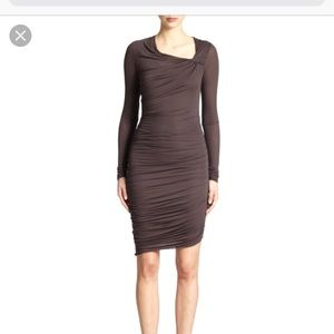 Helmut Lang rouched midi dress