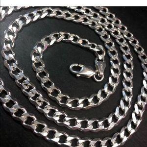 Antitarnish 925 Silver Italian Curb Chain Necklace