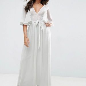 ASOS flutter sleeve lace panel maxi dress