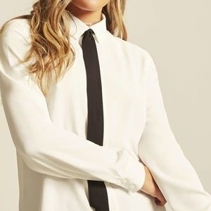 Tie Bow Contrast Button Up Blouse