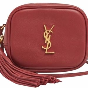 Burgundy Monogram Blogger Tassel Crossbody Shoulde