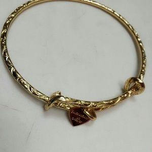 Alex and Ani Heart Charm Gold Tone Bracelet