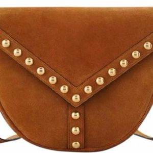 Y Studs Suede Crossbody Shoulder Bag