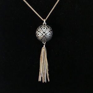 Lucky Brand Two Tone Silver/Gold Tassel Pendant
