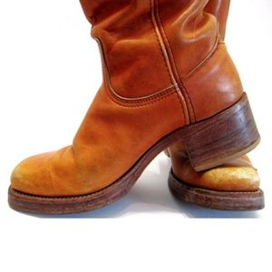Frye Vintage 1970s Caramel Brown Tall Campus Boots