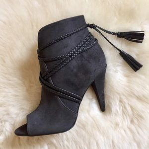 Vince Camuto Charcoal Suede Aston Peep Toe Booties
