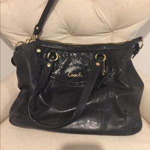 Coach Ashley Satchel Black Leather Bag