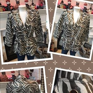 Cache muted brown animal print jacket M