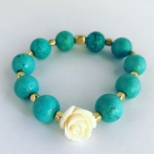 Handmade Turquoise Rose Protection Beaded Bracelet