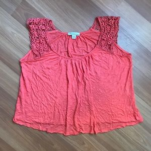 Forever 21 coral crochet sleeve loose cropped top