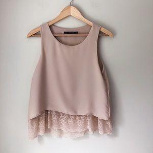 Zara Basic Collection Blush Pink Flowy Top