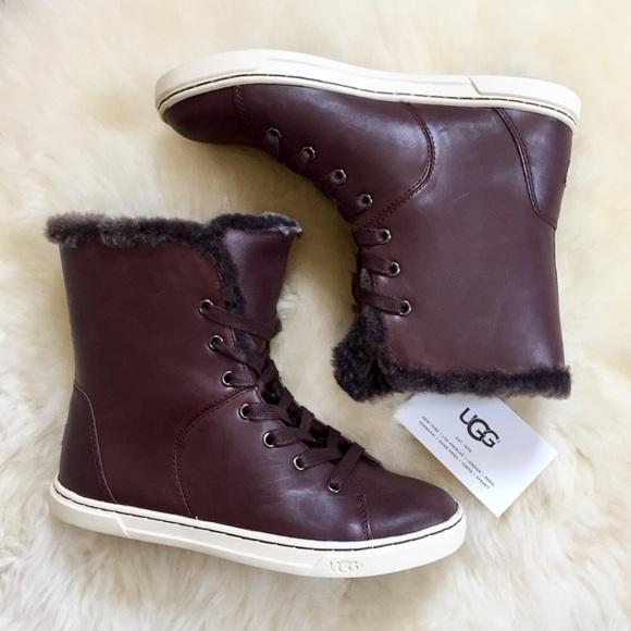 e6343823da4 UGG Croft Luxe Shearling Brown High Top Sneaker NWT