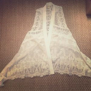 Anthropologie heirloom lace duster vest cream M/L