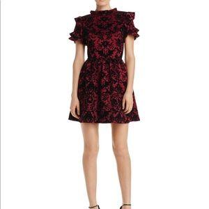 Velvet AQUA ruffle sleeved dress