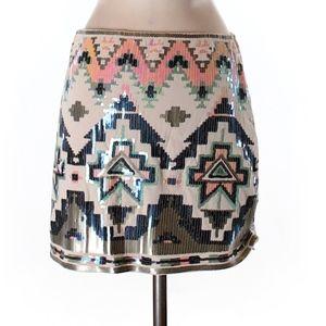 Express Patterned Sequin skirt