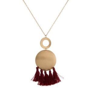 Gold Burgundy Tassel Necklace