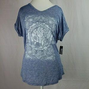 Style & Co V Neck Elephant Tee Tshirt Size XL