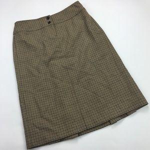 J. Crew Sz 2 100% Wool A-Line Skirt Houndstooth