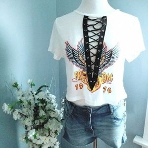 FREEDOM Rock N' Roll Lace Up Crop Top