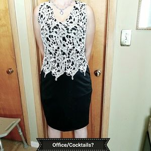 Black dress with white lace applique