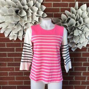 J Crew neon striped 3/4 Sleeve shirt b39