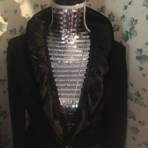 White House Black Market Black velour dress jacket